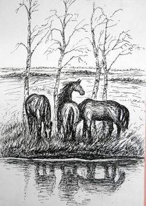 Батенев рисунок Кони