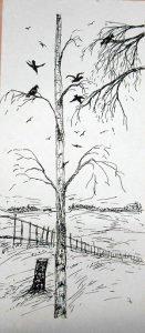 Батенев рисунок Береза